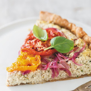 Vegan Provencal Quiche with Heirloom Tomatoes, Olives, and Fresh Basil