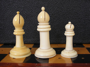 Photo: Comparison of three - non-travel sized  - Cantonese ivory Staunton sets  CH78 - 242 - 302  Bishops  Unlike the travel sets, none of these bishops have the knop partially sliced with the 'gash' in the mitre.
