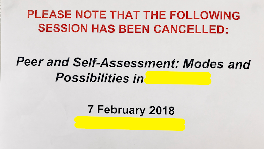 Session on peer and self-assessmet cancelled.