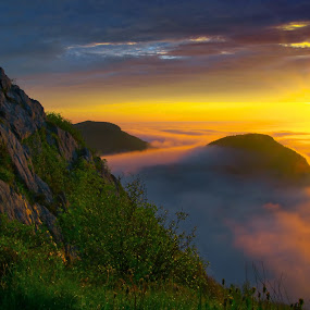 golden rise by Andrzej Pradzynski - Landscapes Sunsets & Sunrises ( clouds, hills, backlit, canada, fog, fort william, newfoundland travel canada, st. john's, newfoundland and labrador, sunrise, geotagged, morning )