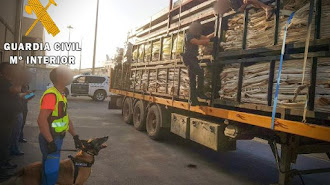 En la imagen se puede ver a una de las personas que viajaban ocultas en un camión.