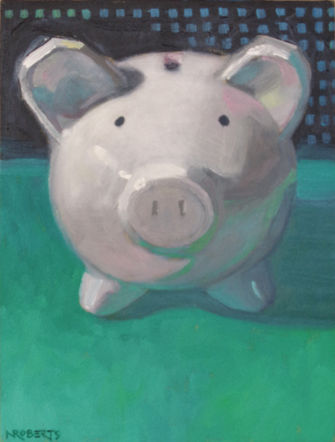 "Photo: ""Piggy on Green"", oil on wood panel, 8"" x 6"", © Nancy Roberts. Private collection."