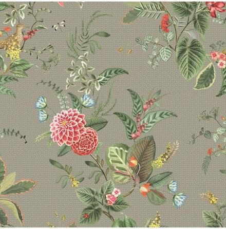 Pip 2020 Floris Tapet med blommor - Khaki