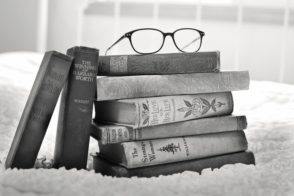 antique, black-and-white, books