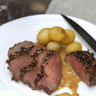 Sliced Venison Steaks with Peppercorn Crust