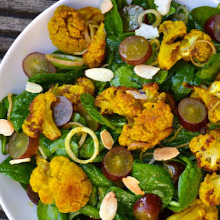 Roasted Curried Cauliflower, Grape & Spinach Salad