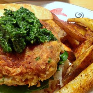 Mozzarella Stuffed Cannellini Burgers with Spinach Pesto [Vegan, Gluten-Free]