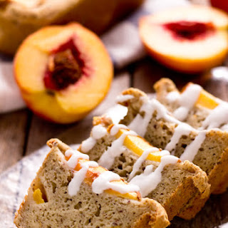 Mini Ginger Peach Cobbler Bread with Coconut Glaze