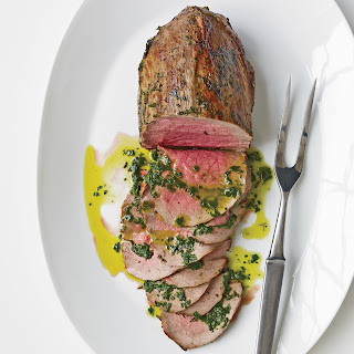 Rare Roast Beef with Fresh Herbs and Basil Oil.