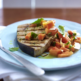 Pan-Seared Swordfish with Papaya Salsa