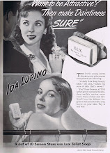 Photo: Celebrities, like film star Ida Lupino, did many ads in the 30's, 40's & 50's. Wealthy socialites also appeared in magazine ads.