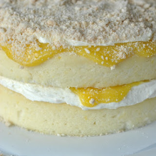 Lemon Cake with Creamy Filling and Lemon Curd.