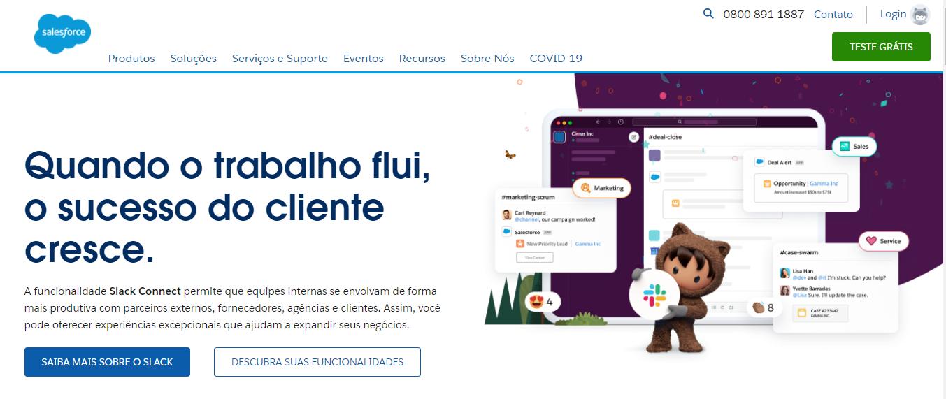 Página inicial do Salesforce