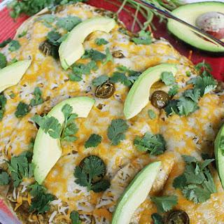 Salsa Verde Stacked Chicken Enchiladas.