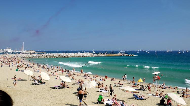 Barceloneta Beach in Barcelona.
