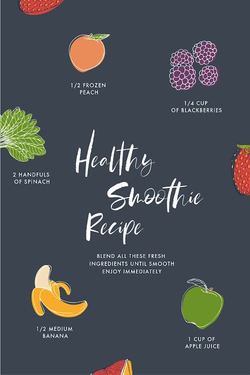 Simple & Healthy Smoothies - Pinterest Pin Template