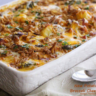 New Potato, Ham & Broccoli Cheese Casserole