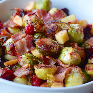 Bacon Roasted Brussels Sprouts W/ Cranberries and Apples Recipe