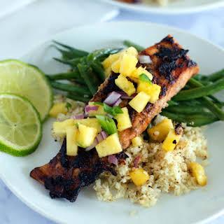 Jerk Salmon with Pineapple Salsa.