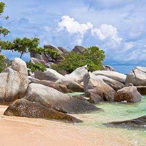 Sea, rocks and sky by Lessy Sebastian - Nature Up Close Rock & Stone ( water, sky, nature, blue, sea, beach, landscape, rocks )