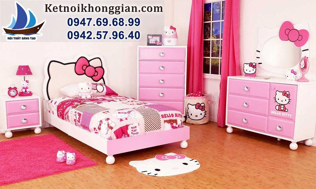 thiết kế phòng bé gái phong cách kitty