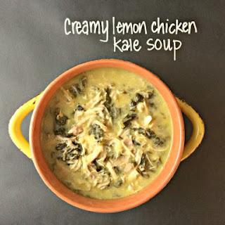 Crockpot Creamy Lemon Chicken Kale Soup.