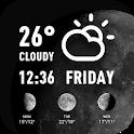 World weather widget& moon phrase information icon