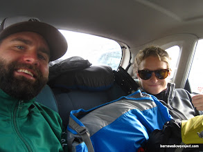 Photo: Packed in the backseat of Olga's Toyota Duet, for an 8 hour travel to the Karasuk research station, just north of the Kazakhstan border