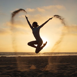 Ashleigh at dusk by Chris Hughes - People Portraits of Women ( sunset, ballet, leap, jump )