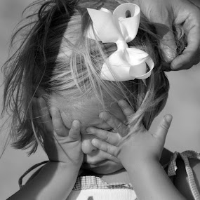 I don't want too by Moe Cook - Babies & Children Children Candids ( childhood, girl toddler, bows, children candids, black and white, child )