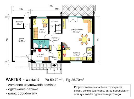 BW-49 wariant 3 z garażem lub bez - Rzut parteru - propozycja adaptacji