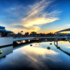 Epcot Sunset by Jay Kleinrichert - City,  Street & Park  Amusement Parks