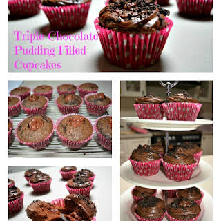 Triple Choc Pudding Filled Cupcakes.