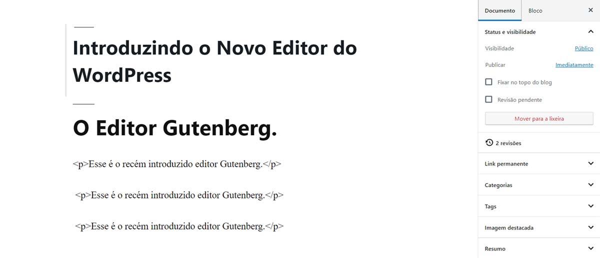 Exemplo do uso da tag parágrafo no Editor Gutenberg