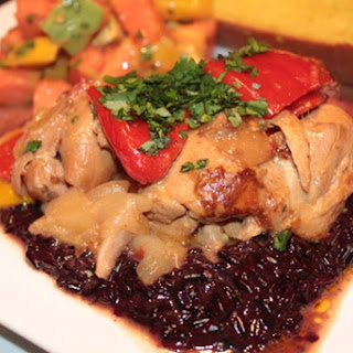 Caribbean Coconut Chicken Stew with Coconut Purple Sticky Rice.