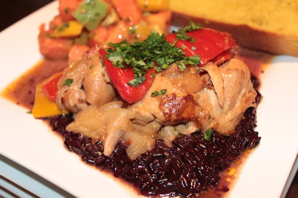 Caribbean Coconut Chicken Stew with Coconut Purple Sticky Rice Recipe