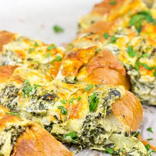 Spinach Artichoke Stuffed French Bread.