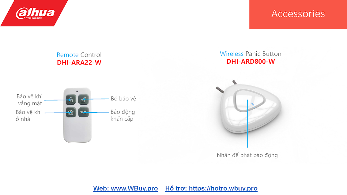 Remote Control DHI-ARA22-W và Wireless Panic Button DHI-ARD800-W