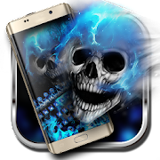 Ice blue fire skull cool mobile phone theme