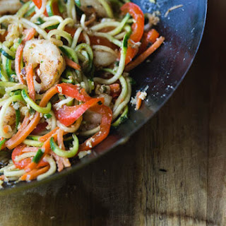 Zucchini Noodles and Shrimp Stir Fry.