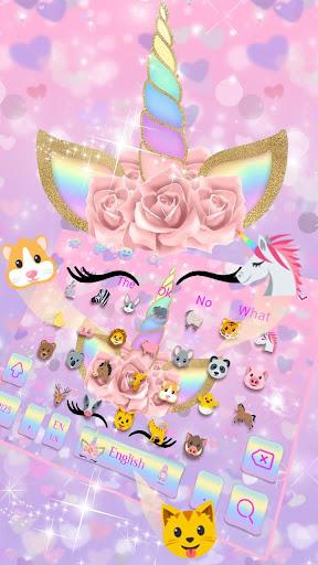 Pink Flower Unicorn Keyboard Theme 10001003 screenshots 2