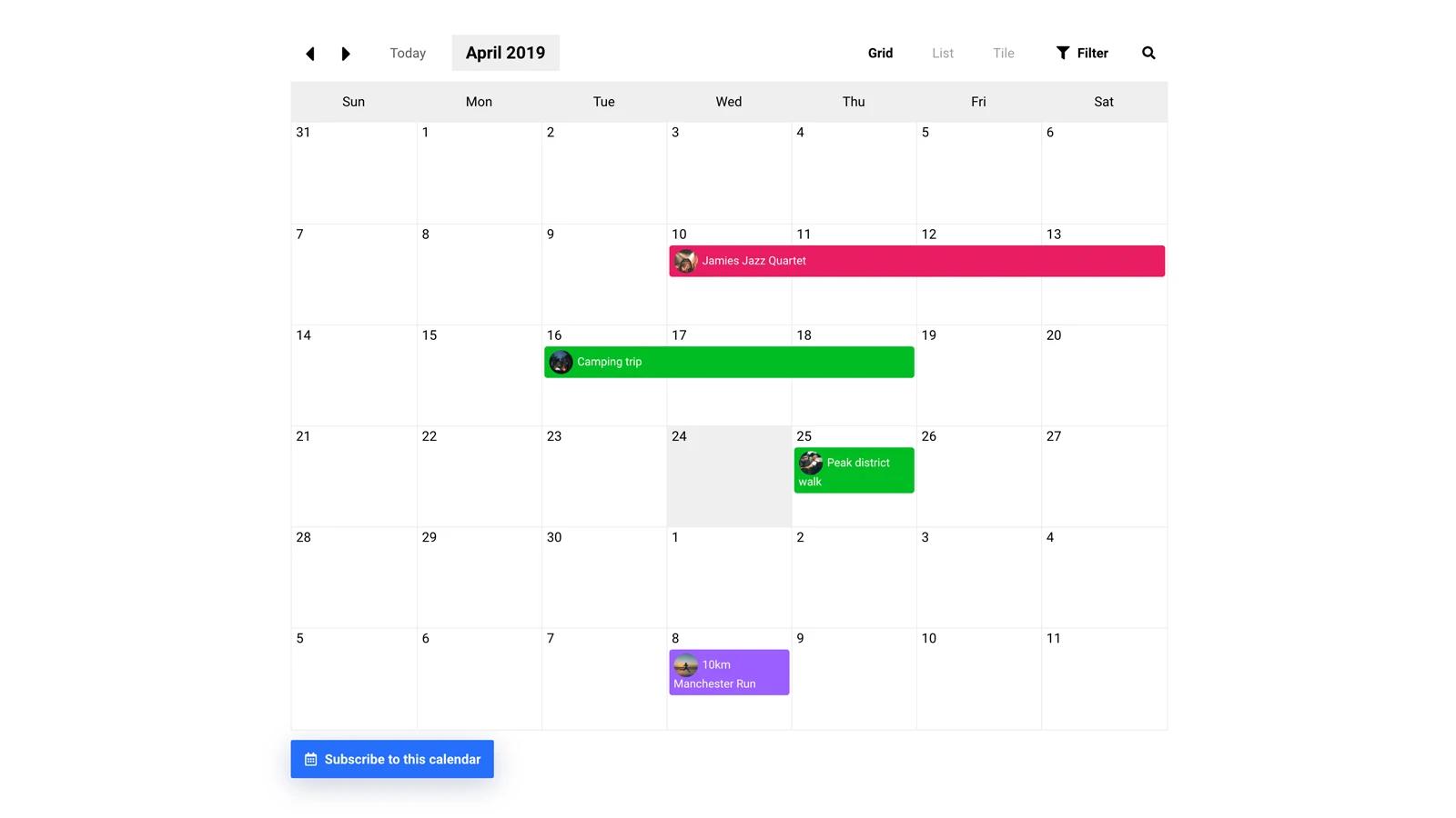 Shopify calendar app