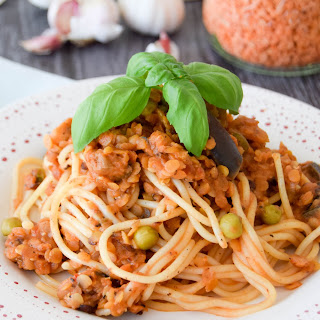 Lentil Bolognese With Peas & Aubergine (Eggplant)