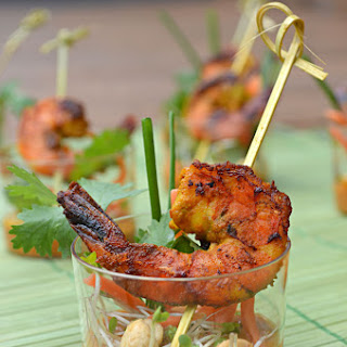 Shrimp Satay Skewer Shooters with Thai Spicy Peanut Sauce.