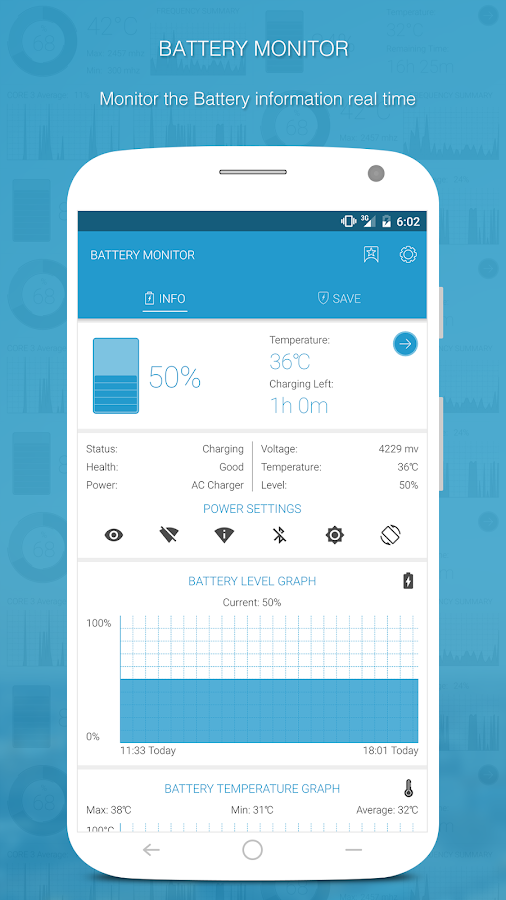 Battery Monitoring App User Interface : App battery saver monitor simple powerful and