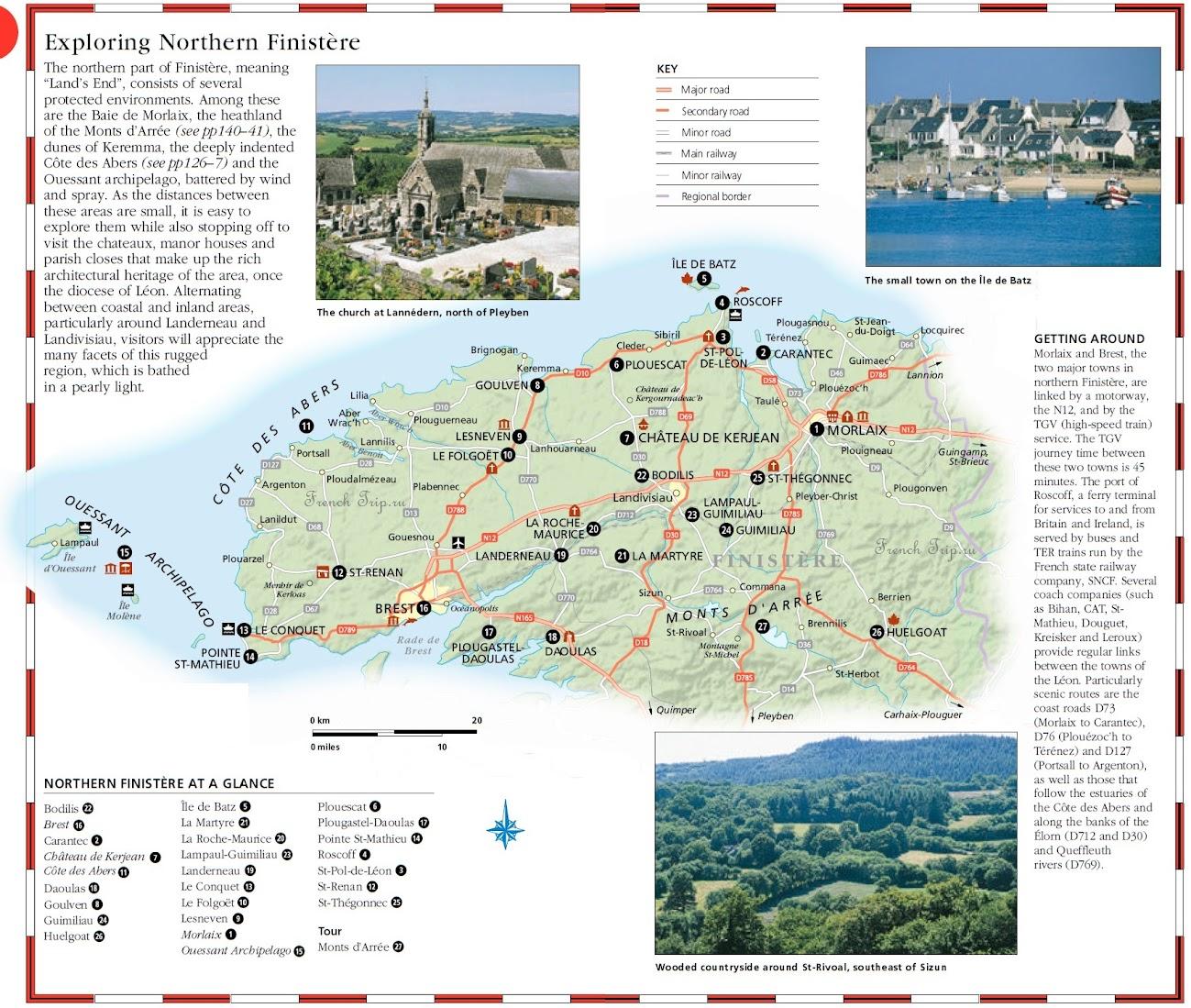 Карта и достопримечательности севера департамента Finistere - Карта Бретани - скачать бесплатно - достопримечательности, города, регионы, схема дорог. Что посмотреть в Бретани. Путеводитель по Бретани и Франции.