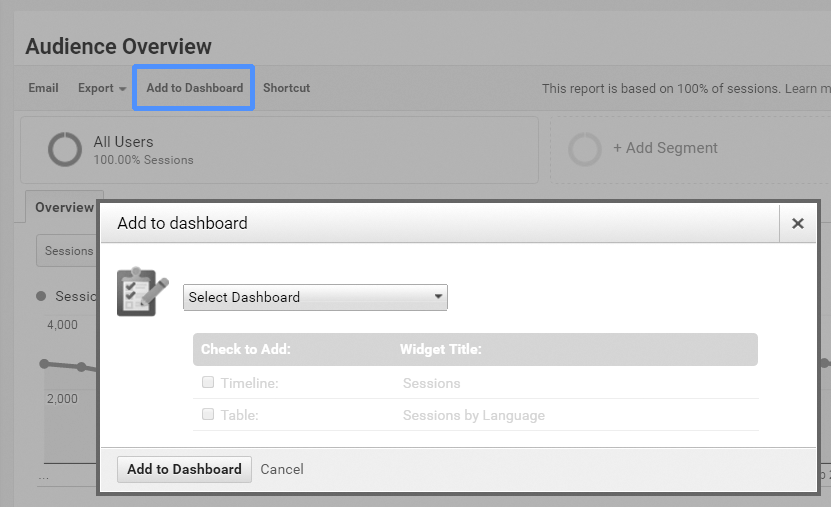 Screen shot of adding a report to a dashboard.