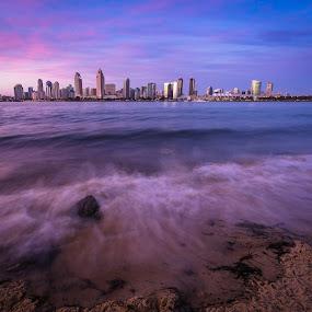 Coronado by Clifford Swall - Landscapes Beaches ( water, san diego, magenta, silky water, ocean, long exposure, coronado, beach, landscape, dusk, downtown san diego, downtown )