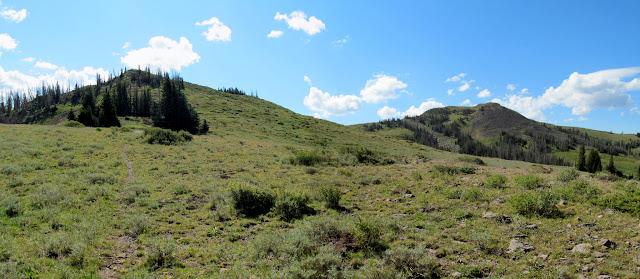 Faint trail (left) leading up the ridge