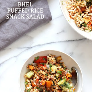 Bhel Recipe- Indian snack Salad with Puffed Rice, Sweet Potato and Tamarind Chutney.